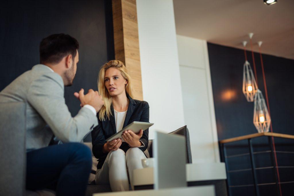 Two people work meeting